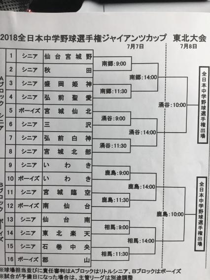 2018全日本中学野球選手権ジャイアンツCUP東北大会